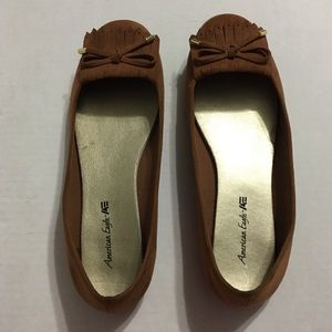 American Eagle faux suede brown flats size 7